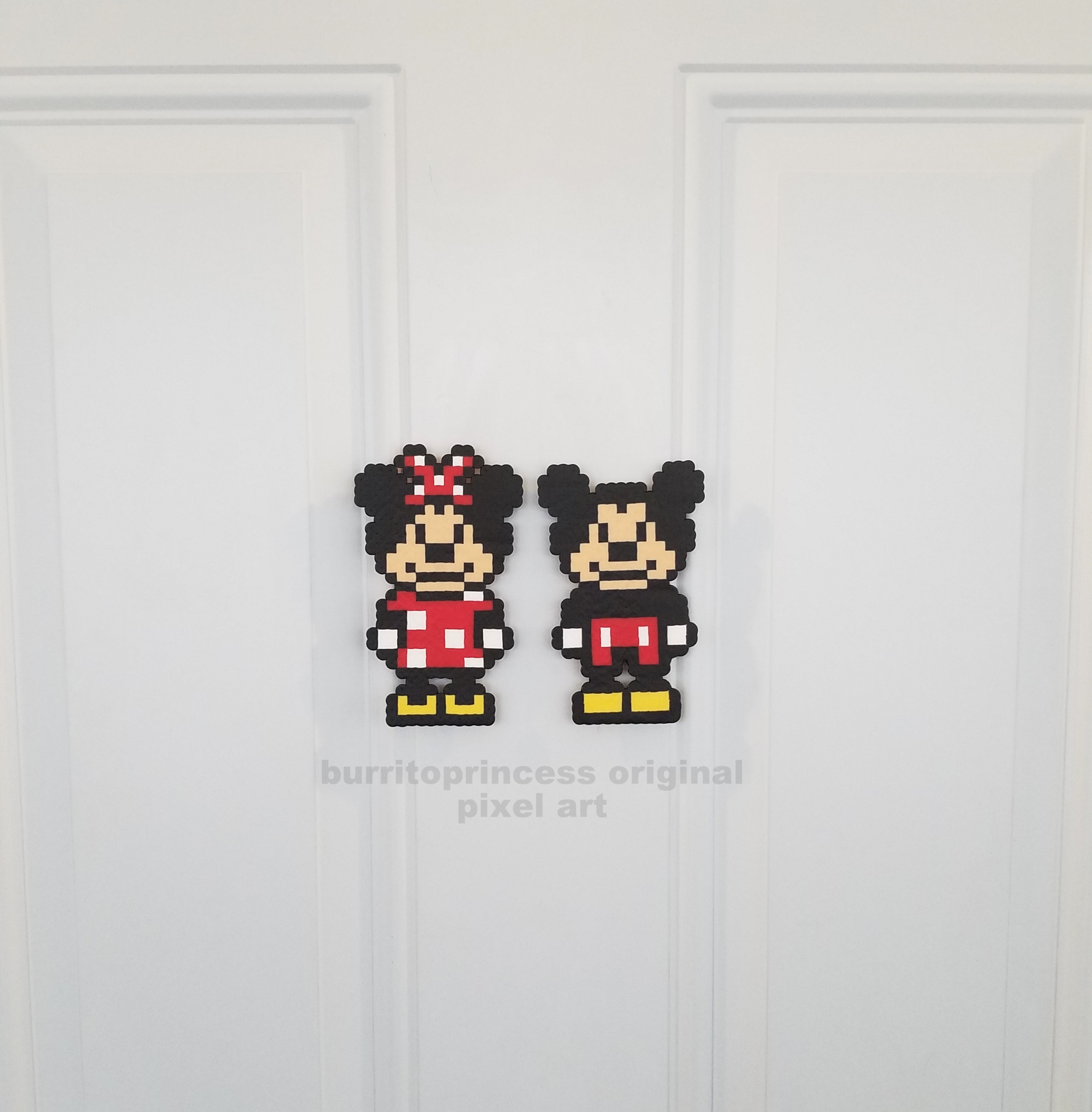 Mickey Mouse Pixel Art mickey mouse and minnie mouse magnets